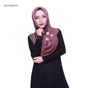 Image 1 - TJ85 Mới Dễ Dàng Mặc Hồi Giáo Hijabs Fashionscarf Của Phụ Nữ Tơ Lụa Vành Cao Số Lượng Nữ Khăn Showl (Không Thổ Cẩm)