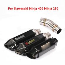 Slip on Ninja 250 400 Motorcycle Exhaust Pipe Muffler Link Mid Pipe Exhaust System for Kawasaki Ninja 400 Ninja 250 2017 2018 motoo carbon fiber exhaust muffler pipe link middle pipe escape for kawasaki ninja 250 r ninja 300 z250 z300 2008 2017 slip on