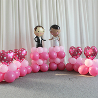 94pcs Set Sweety Bridegroom Bride And Red Heart Latex And Foil Balloons Marriage Road Lead Pillar