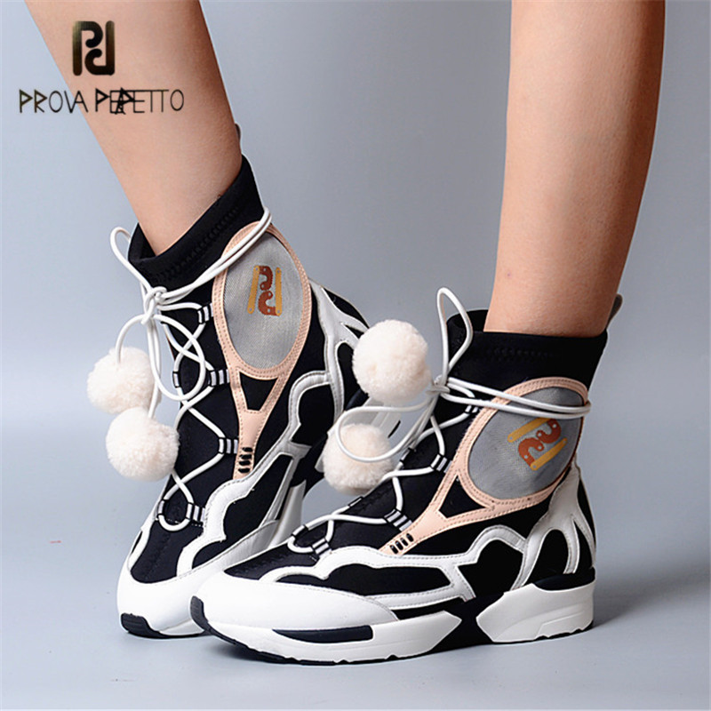 Prova Perfetto Women Lace Up Ankle Boots Mixed Color Breathable Platform Wedge Boots Casual Shoes Woman Tenis Feminino Creepers nayiduyun women genuine leather wedge high heel pumps platform creepers round toe slip on casual shoes boots wedge sneakers