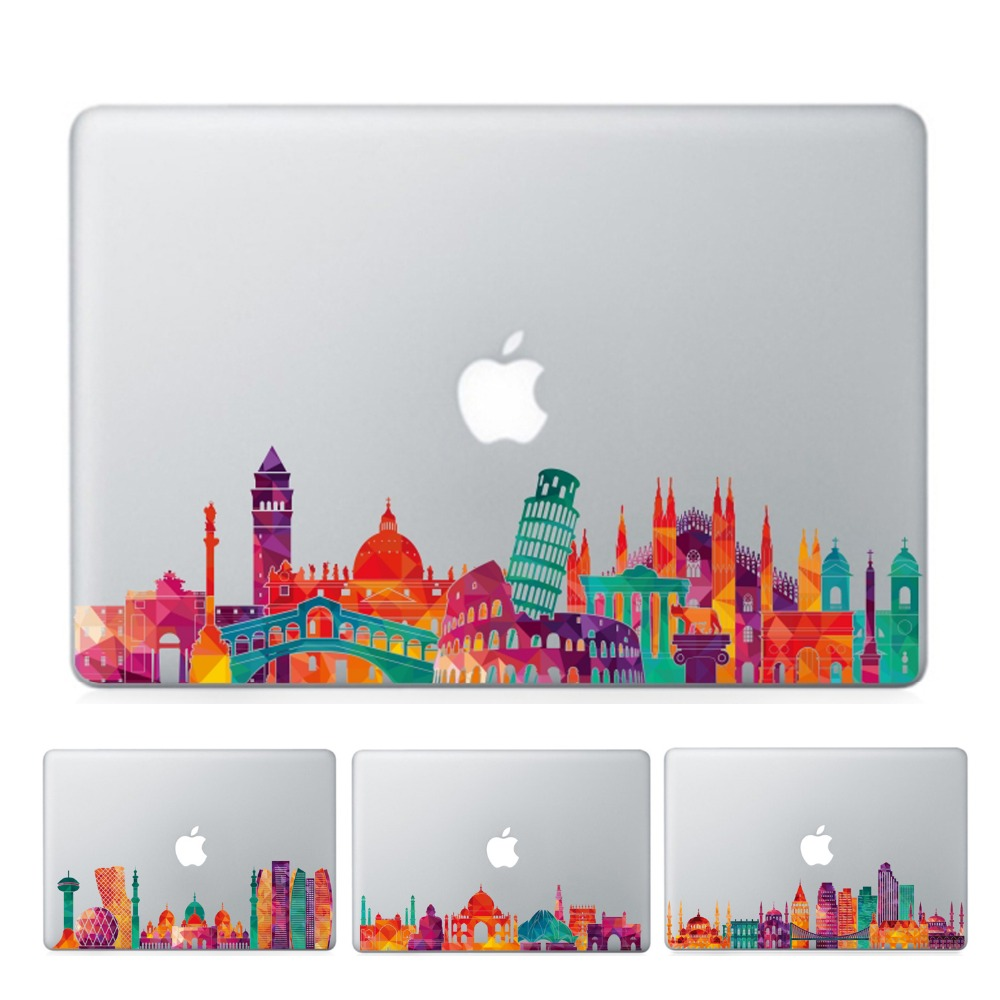 YCSTICKER - 2018 New Laptop Sticker Famous City Sight Landmark Skins For MacBook Air Pro Retina Sticker Vinyl Partial Decal