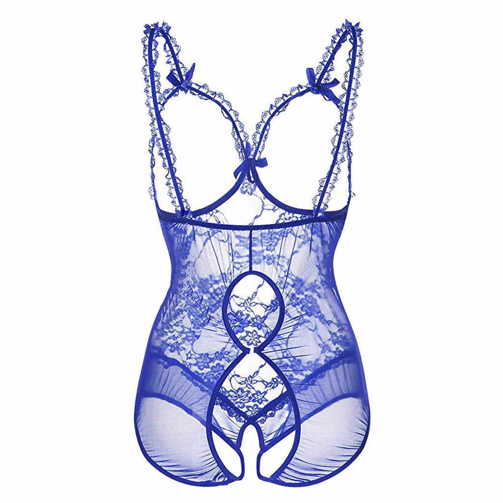 حجم كبير SMLXL 2XL 3XL فتح البرازيلي المفتوحة المنشعب النساء الدانتيل مثير الملابس الداخلية الساخن شفاف فستان بيبي دول المثيرة ازياء nuiesa P5
