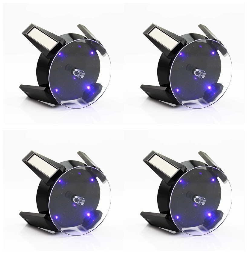 4CS Black Solar Powered Jewelry Display Stand Phone  Watch Rotating Display Stand Turn Table