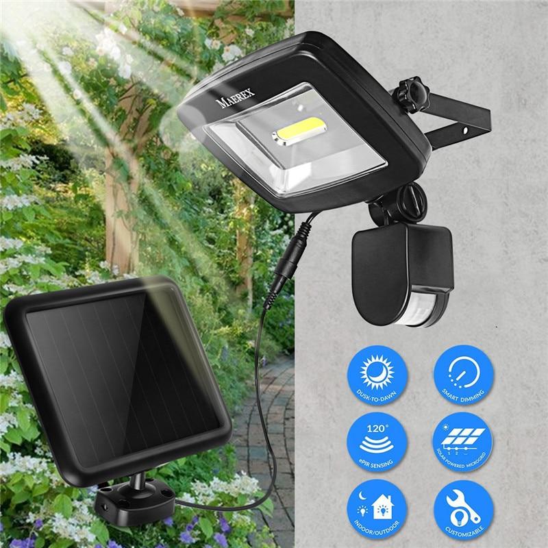 Mising 10W COB Solar Powered Light with PIR Body Motion Sensor Lamp Outdoor Floodlights Garden Yard Spotlights Wall Lighting