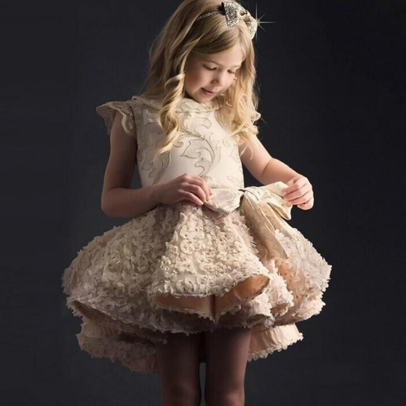 Pre order, High Class Princess Party Girls Dress Tutu Sundress Golden Kids Dresses For Girls Summer Dress Baby Girl Clothes