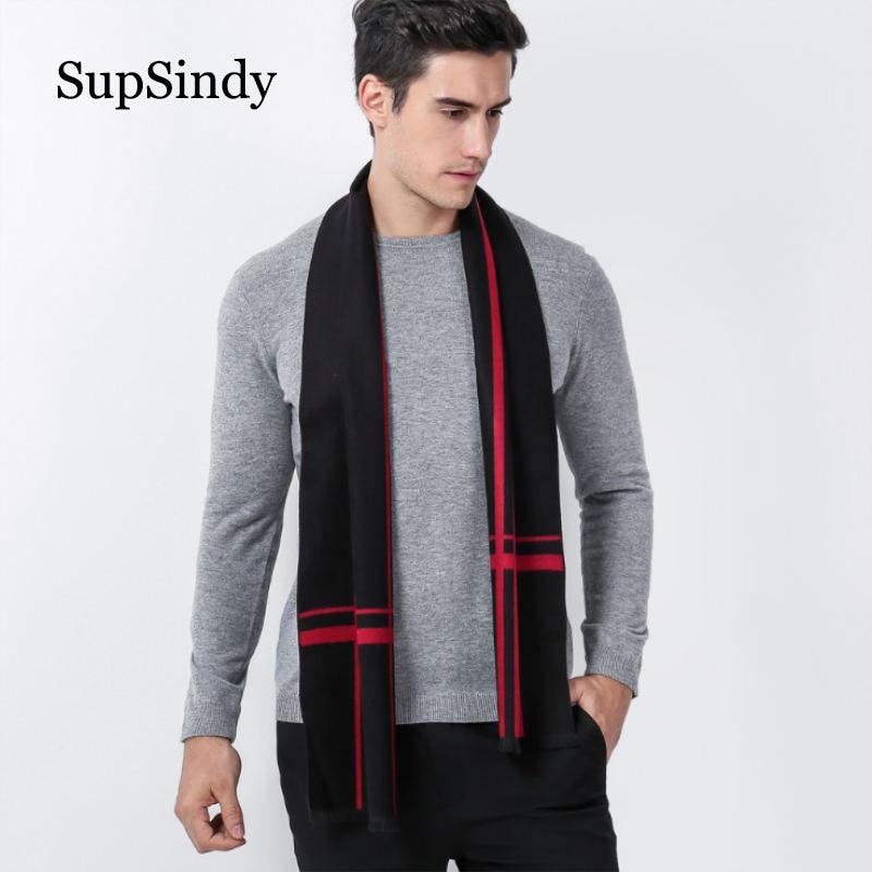 SupSindy Winter Scarf Men Vintage Soft Striped Scarves Luxury Plaid Shawl Warm Cashmere Fashion Acrylic Casual Men Scarf Black