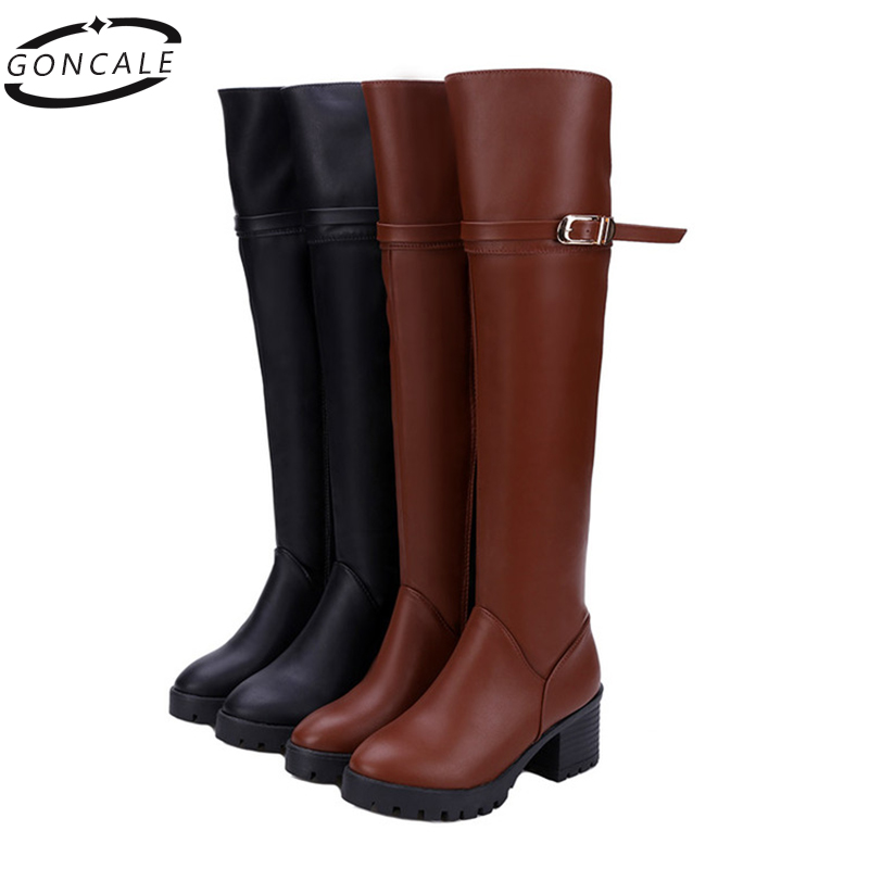 2017 Fashion women knee-high winter shoes over-the-knee boots ladies thigh high boots leather waterproof high-top boots