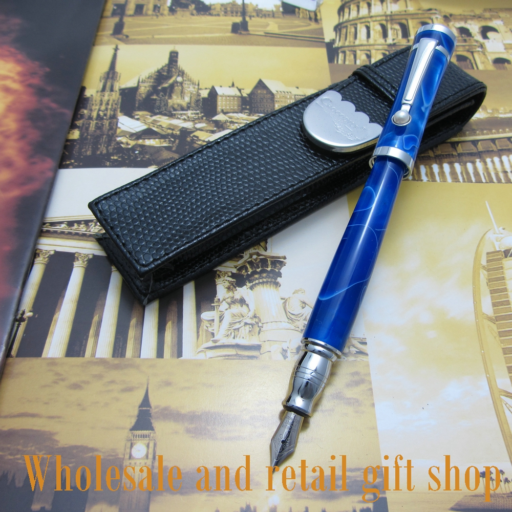 Fuliwen pen high quality acrylic cover new blue fountain pen + pen bag Office gift щетки стеклоочистителя bosch aero 3 397 008 539 650mm