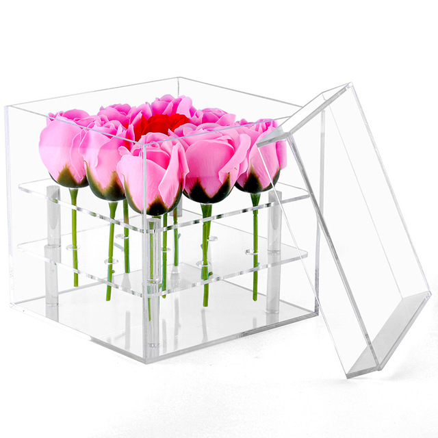 New Fashion Clear Acrylic Rose Flower Box Makeup Organizer Cosmetic Tools Holder Flower Gift Box For Girlfriend Wife With Cover