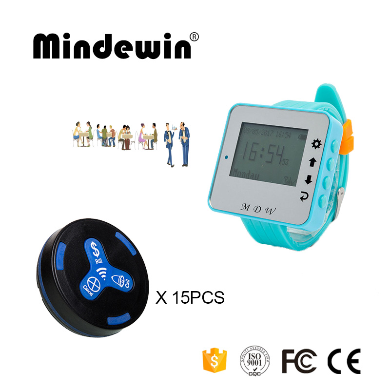 Mindewin 15PCS Table Call Button M-K-3 + 1PCS Watch Pagers M-W-1 Calling Bell System For Restaurant wireless table call system monitor bell buzzer used in the cafe bar restaurant 433 92mhz 2 display 1 watch 18 call button