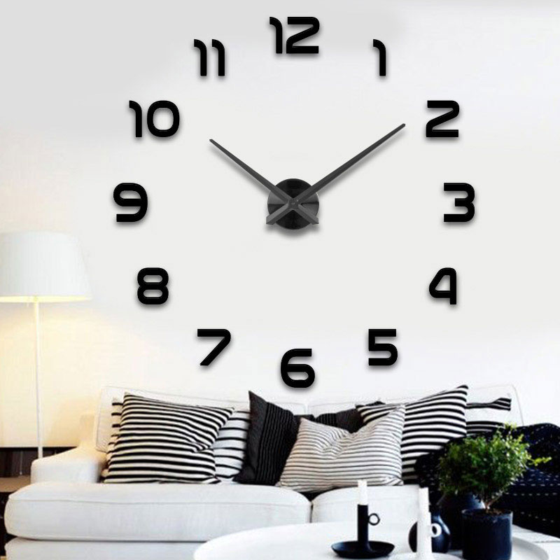 Factory Freeshipping 2019 New Metall Moderne 3D DIY Wall Clock Acrylic+EVR+Metal Mirror home decoration Super Big 130cm x130 cm