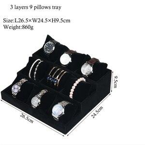 Image 4 - Luxury Velvet 3 Tier Bracelet Jewelry Display Tray With Pillows Bangles Storage Tray 9 Grid Jewelry Organizer Watch Stand Holder