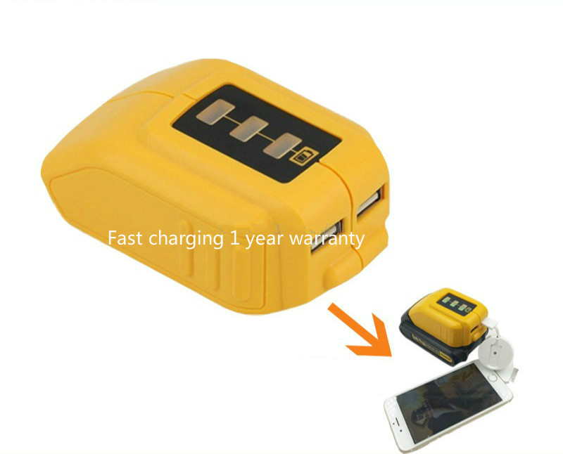 Converter for your dewalt 10.8v 12v 14.4v 18v 20V lithium battery drill USB mobile phone charging converter <font><b>DCB090</b></font> universal image