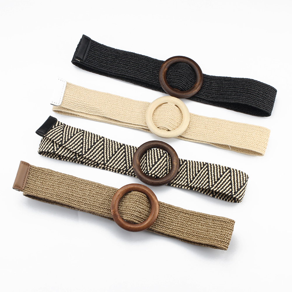 Woman Braided Belts For Women Boho Woven Strap Female Round Wooden Buckle Design Style Dress Jeans Black Plastic Waist Belt Hot