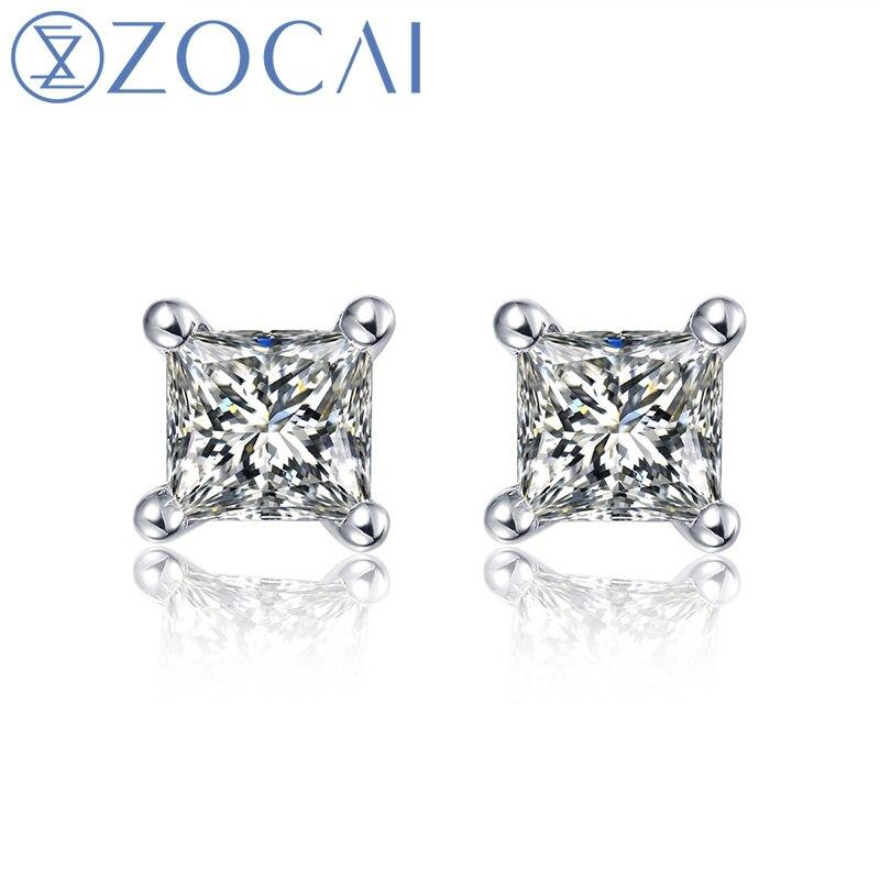 ZOCAI 100% diamant naturel 0.16 ct princesse taille véritable diamant boucles d'oreilles or 18 K E80009T - 2