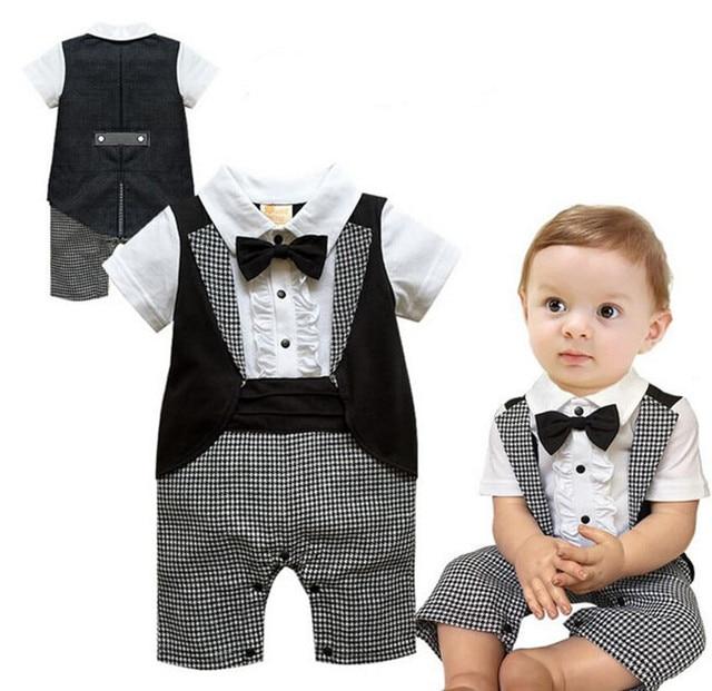 f47add97a Nueva Ropa Del Bebé Del Muchacho Bebe Niños Niños Niños Recién Nacido  Bowknot Cortos Plaids Caballero