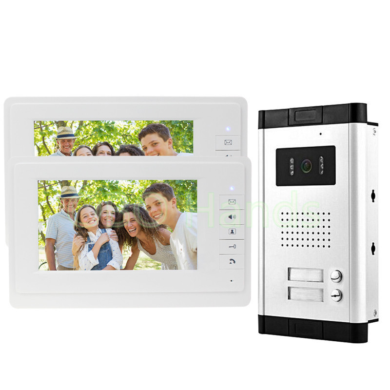Free Fast Shipping 7'' Wired Video Door Phone Access Control Doorbell Intercom System Kit set 2 monitors+1 camera with 2 buttons new wired 7 screen video door phone intercom doorbell system 2 monitors rfid access door camera magnetic lock free shipping