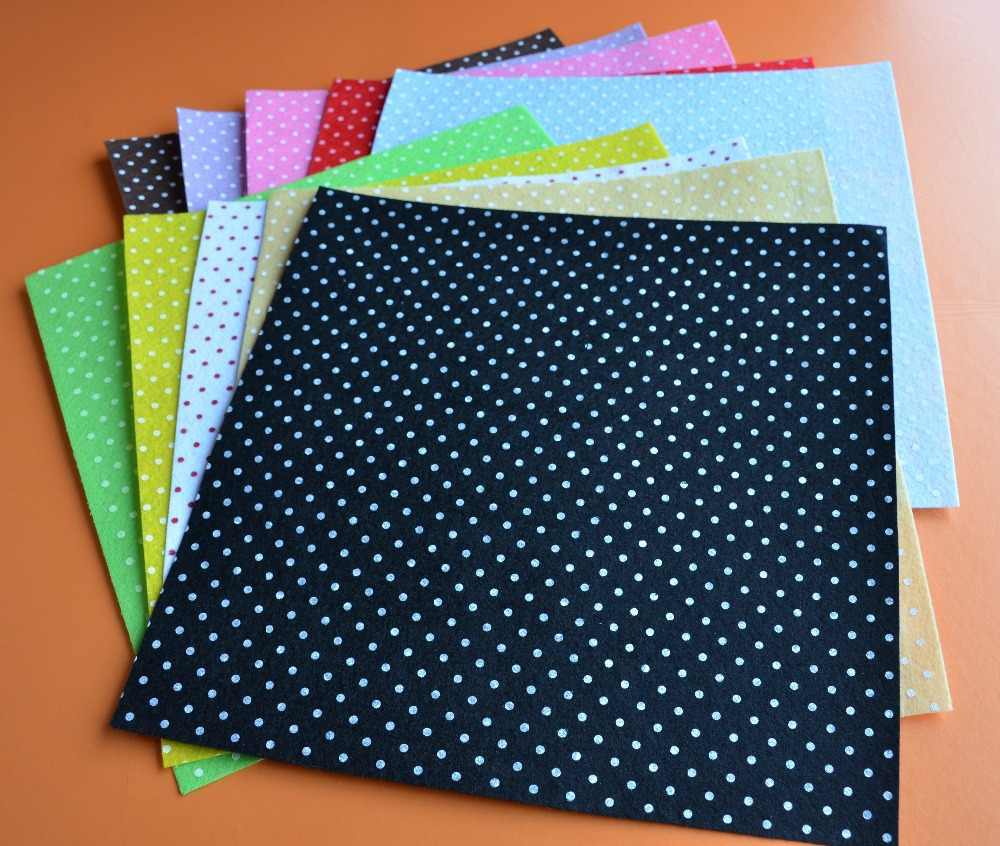 ALL 10 Printed Multi Colored Polka Dots Felt Sheets - 30cm x 30cm per sheet 100% Polyester Nonwoven Felt Fabric