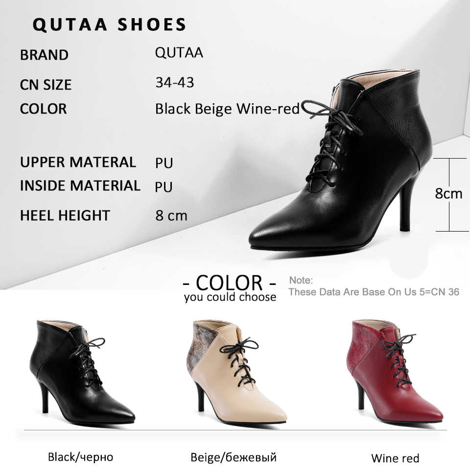 QUTAA 2020 Yılan Derisi Karışık Renk PU Deri Sivri burun yarım çizmeler Ince Yüksek Topuk Lace Up Sonbahar Kış Kadın Ayakkabı Boyutu 34-43