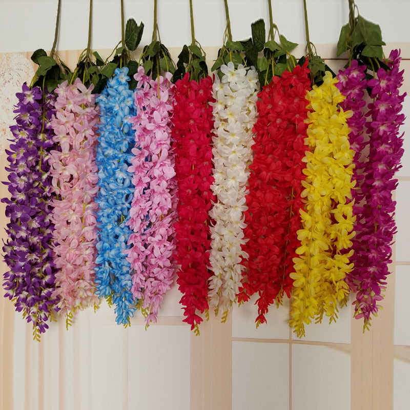 90cm artificial wisteria flower vine wedding decor silk flowers home 90cm artificial wisteria flower vine wedding decor silk flowers home christmas decoration diy accessories craft in artificial dried flowers from home junglespirit Gallery