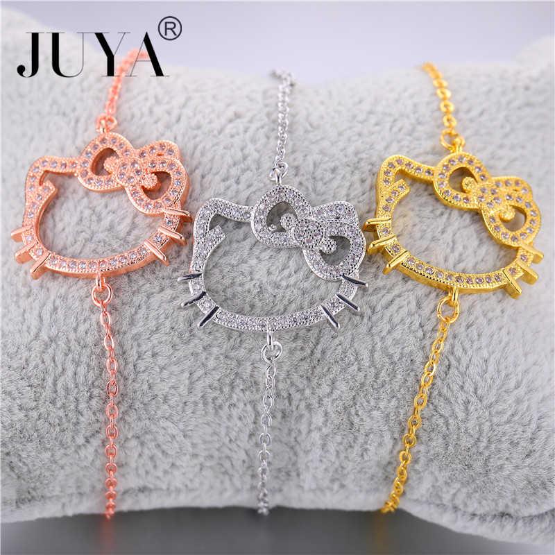 Bracciali donna Moda Moda Olá Kitty Pulseiras Para Mulheres Meninas Jóias Presente sieraden prata ouro rosa pulseira de ouro