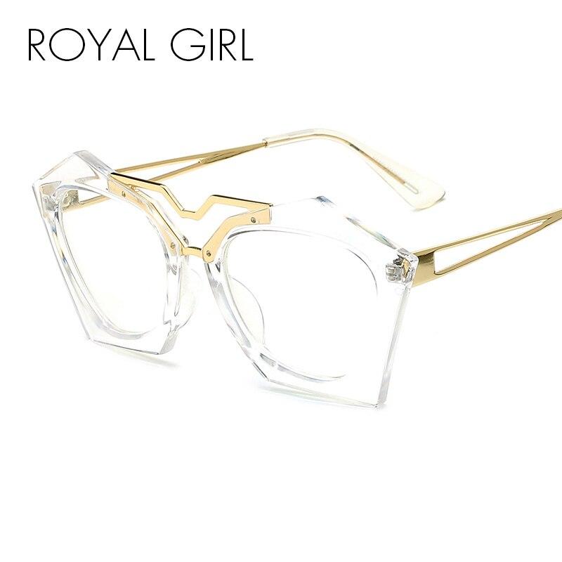 ROYAL GIRL Women Brand Design Double Nose Geometry Cat Eye Glasses High Quality Eyeglasses Women Clear Glasses SS949