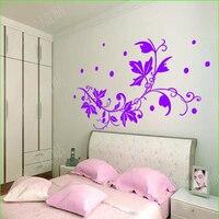 Mor Duvar Çıkartmaları Çiçekler Ev Dekor TV Arka Plan Duvar Sticker Yatak Odası Oturma Odası Çıkartmaları Ev Dekorasyon Duvar Sanatı Çıkarılabilir