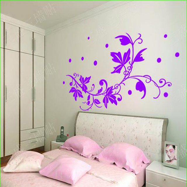 Purple Wall Stickers Flowers Home Decor TV Background Wall Sticker Bedroom  Living Room Decals Home Decoration Part 35