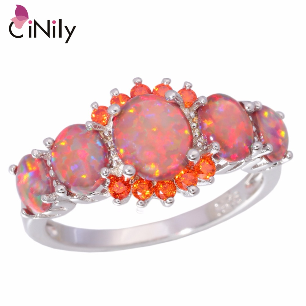 CiNily Orange Fire Opal Orange Garnet Silver Plated Ring Wholesale Wedding Party Gift for Women Jewelry Ring Size 5-12 OJ4576