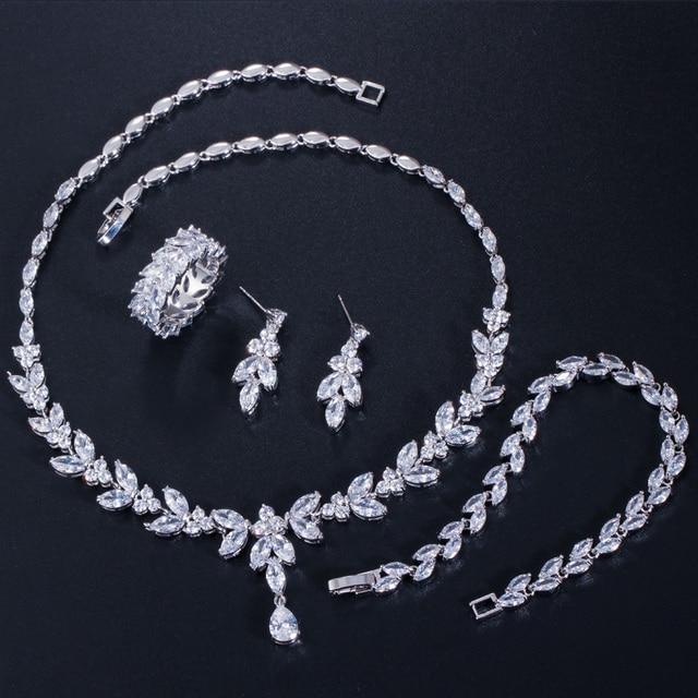 CWWZircons 4 Uds brillante cúbico pendientes y collar con circones anillo y pulsera joyería nupcial de la boda establece vestido accesorios T344 5