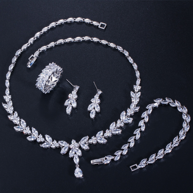 CWWZircons 4Pcs Brilliant Cubic Zircon Necklace Earrings Ring and Bracelet Wedding Bridal Jewelry Sets Dress Accessories T344