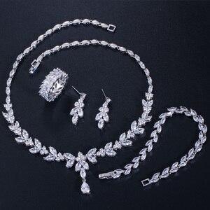 Image 5 - CWWZircons   boucles et bracelet pour mariées, boucles doreilles, collier, bague et bracelet brillants en zircone cubique 4 pcs, ensembles de bijoux pour mariée, accessoires dhabillage T344
