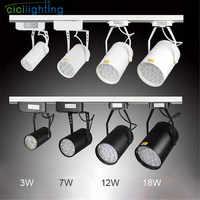 Luz conduzida moderna do trilho da trilha ac85-265 v holofotes ajustável lâmpada de iluminação da trilha do trilho para o escritório da exposição do shopping preto/branco