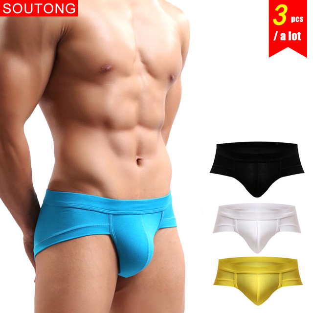 127aef90b Soutong 3Pcs lot Mens Briefs Underwear Briefs Solid Color Soft Underpants Modal  Sexy Underwear Man Male Underwear For Men Briefs