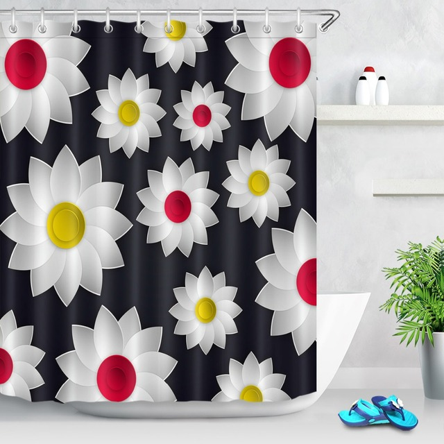 LB Yellow Red White Flower Black Shower Curtain Natural Art Floral Waterproof Custom Luxury Bathroom Fabric