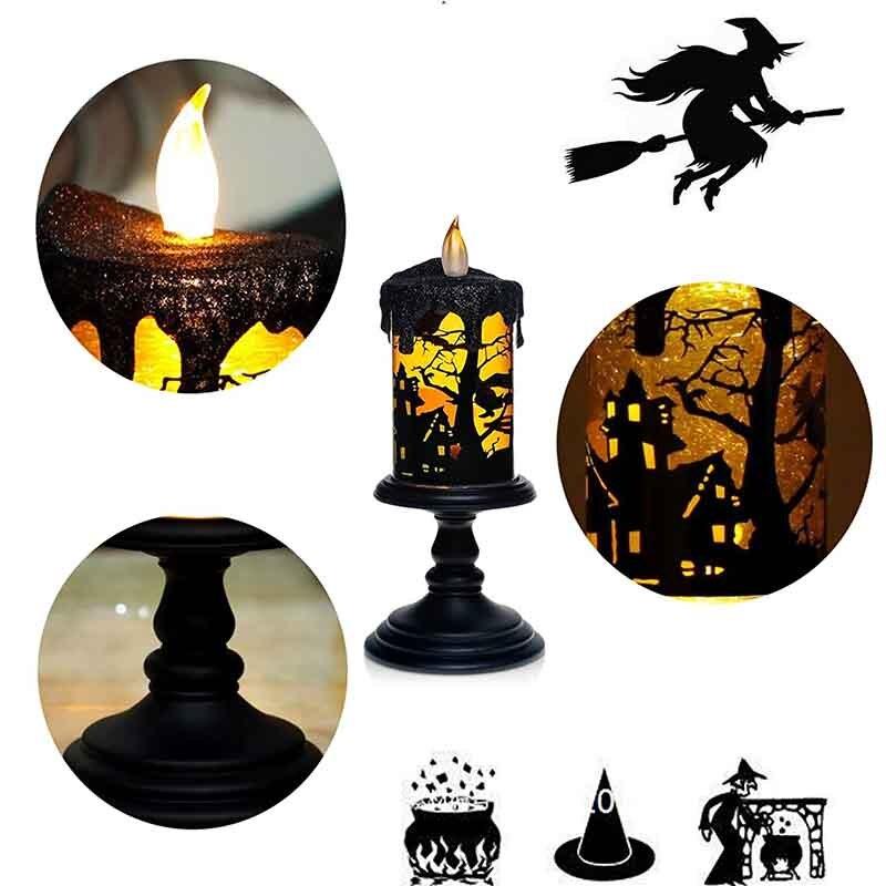 GiveU Lampada Halloween, Con Glitter Tornado spin tecnologia di illuminazione a led, Funzionamento A Batteria, Senza Fiamma della candela in Strega