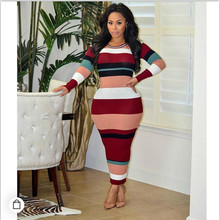MUXU fashionable dresses patchwork striped women long jurken womens clothing sleeve ladies streetwear vestidos 2018