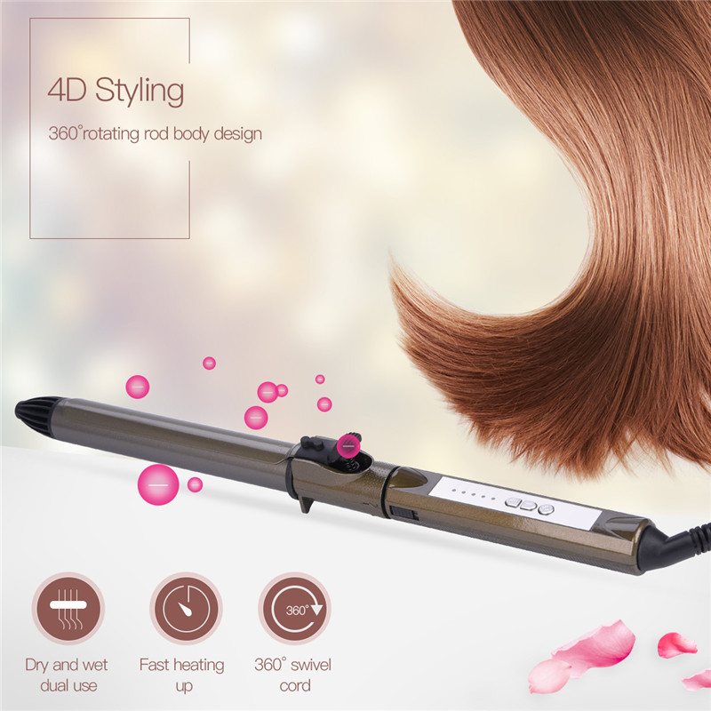 Professional Ceramic 25mm Curling Iron Wand Tongs Heating Styling Tools Hair Curler Splint 5 Degree Adjustable 110V 220V Dry Wet golden 19mm perm splint lcd fast styler hair curler waver ceramic curling iron 3 barrel big wave curling wand tongs high quality