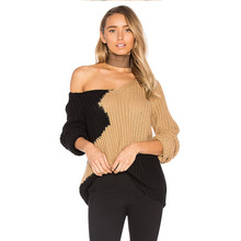 New Arrival 2017 Autumn Women Solid Knitted V Neck Sleeve Sweater Shirts Lady Hollow Top tees women's clothing T17806