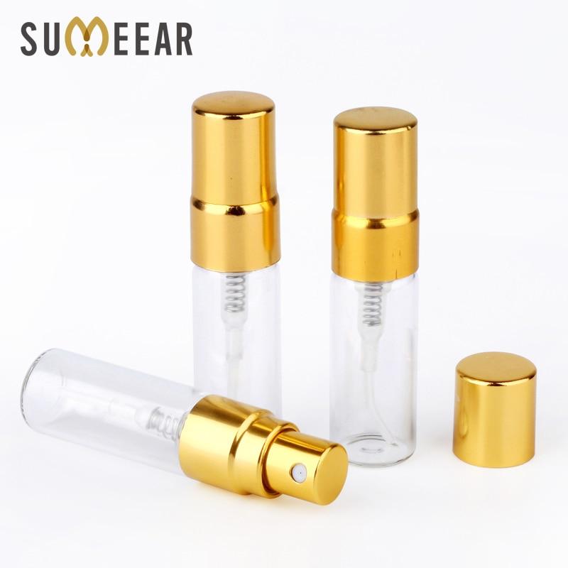 100PC Lot 3ml Portable Sample Spray Bottle Transparet Glass Perfume Bottle Atomizer with Gold Metal Pump
