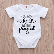 Tiny Cottons 2019 Newborn Bodysuits for This Child We Have Prayed Letters Baby Girl Short Sleeve White Onesies In