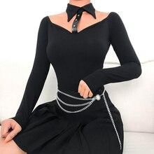Black Long Sleeve Winter Bodysuit Women Choker Collar Off Shoulder Sexy Body 2019 Spring Solid Bodycon Bodysuits