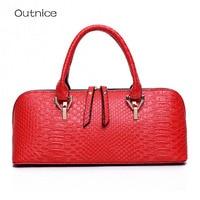 Boston Long Shell Bags Crocodile Pattern Designer Women Leather Handbags Famous Brand Ladies Hand Bags Female