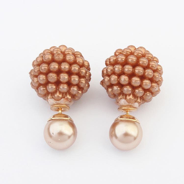 5 Colors Double Side Pearl Ball Stud Earrings |