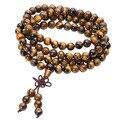 I08 Тибетского Буддизма Мала Природный тигровый Глаз Камень Драгоценный Камень Двойного назначения Ожерелье Браслет Подарок, Завернутый Древесины Молитвы для Медитации