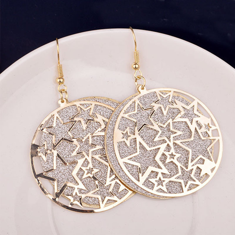 Women Fashion Metallic Round Hollow Out The Pentagram Exaggerated Drop Earrings Women's Earrings
