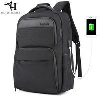 ARCTIC HUNTER Laptop Backpacks Male USB Charge Backpack Men Casual Travel Nylon PU Leather Patchwork Back