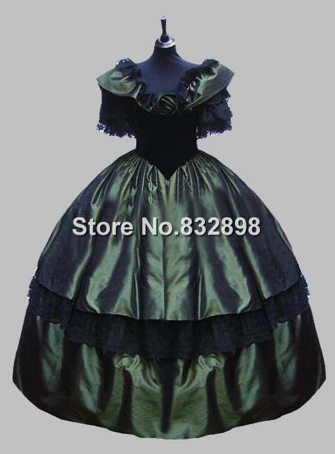 Deluxe Victorienne Foncé Gothique De Costume Vert Robe Carnaval Boule Venise rxhCtBsdoQ