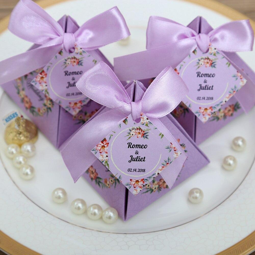 50 Pcs/lot Pink/ Purple/ Tiffany Blue Floral Pyramid