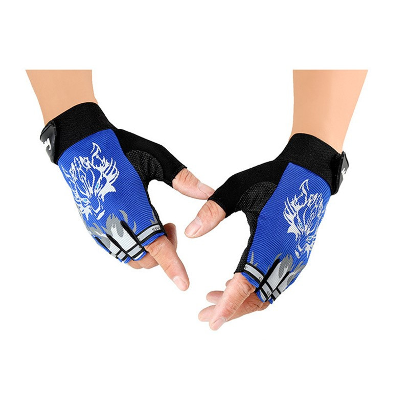 Nye sportshandsker til børn Halvfinger Wolf Print Handske Børn Vanter Anti-slip Boys Girl Fingerless Gloves for 6-12 Years Kid